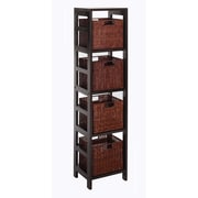 Winsome Leo Wood 5-Pc Storage Shelf With 4 Small Rattan Baskets, Dark Espresso