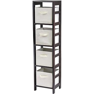 Winsome Capri Wood 4-Section N Storage Shelf With 4 Foldable Fabric Baskets, Espresso/Beige