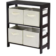Winsome Capri Wood 2-Section M Storage Shelf With 4 Foldable Fabric Baskets, Espresso/Beige