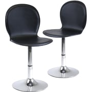 Winsome Spectrum Faux Leather Swivel Shell Chair, Black, 2 Pieces