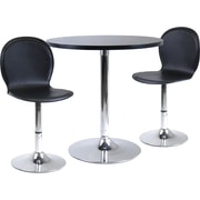 "Winsome Spectrum 29 1/2"" x 28.74"" x 28.74"" MDF Round Dinning Table With 2 Swivel Chair, Black"