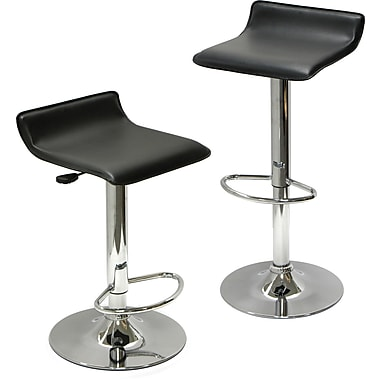 Winsome Spectrum Faux Leather Adjustable Air Lift Stool, Black