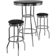 "Winsome Summit 40.55"" x 30"" x 30"" Wood Round Pub Table With 2 Swivel Stool, Black"