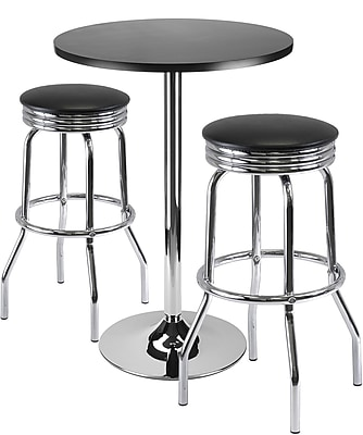 """""Winsome Summit 39.76"""""""" x 23.66"""""""" x 23.66"""""""" Round Bar Table With 2 Swivel Stool, Black"""""" 55753"