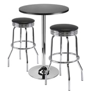 "Winsome Summit 39.76"" x 23.66"" x 23.66"" Round Bar Table With 2 Swivel Stool, Black"