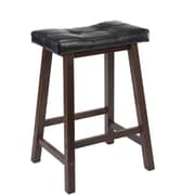 "Winsome Mona 24"" Faux Leather Cushion Saddle Seat Stool, Black"