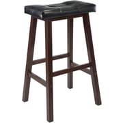 "Winsome Mona 29"" Faux Leather Cushion Saddle Seat Stool, Black"