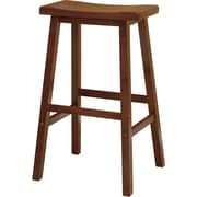 "Winsome 29"" Beech Wood Saddle Seat Bar Stool, Antique Walnut"