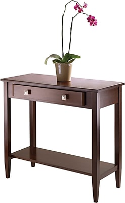 "Winsome Richmond 33.98"" x 29.92"" x 15.69"" Wood Console Hall Table Tapered Leg, Brown"