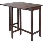 "Winsome Lynnwood 35.43"" x 39.39"" x 30"" Wood Rectangular Drop Leaf High Table, Antique Walnut"