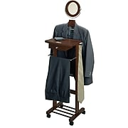 Winsome Wood Valet Stand With Mirror, Drawer, Tie Hook, Casters, Antique Walnut