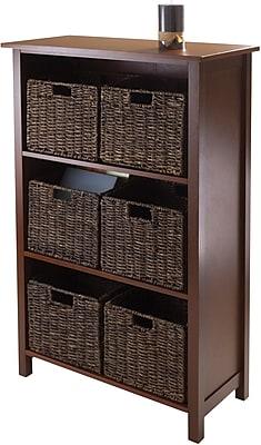 Winsome Granville Wood 7-Pc 3-Section Storage Shelf With 6 Foldable Corn Husk Baskets, Walnut