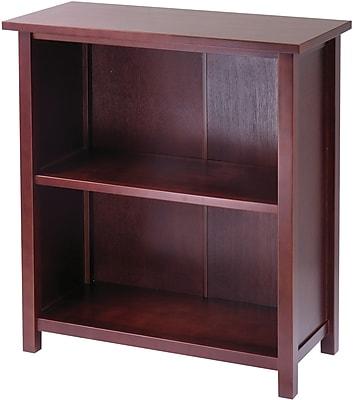 Winsome Milan Solid/Composite Wood 3-Tier Medium Storage Shelf or Bookcase, Antique Walnut