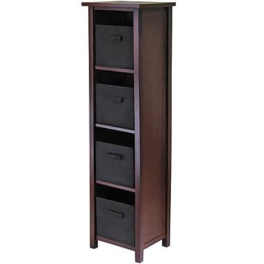 Winsome Verona Wood 4-Section N Storage Shelf With 4 Foldable Fabric Baskets, Walnut/Black