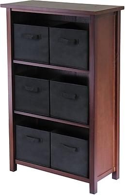 Winsome Verona Wood 3-Section M Storage Shelf With 6 Foldable Fabric Baskets, Walnut/Black