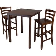 """Winsome Parkland 38.98"""" x 33.86"""" x 33.86"""" Wood Square High Table With 2 Stool, Antique Walnut"""