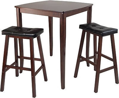 "Winsome 38.9"" x 33.8"" Square inglewood High/Pub Dining Tbl W/2 Cushion Stool, Antique Walnut, 3 Pcs"