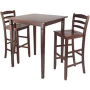 """Winsome 38.9"""" x 33.8"""" Square High Kingsgate /Pub Dining Table With Ladder Back Stool, Antique Walnut"""