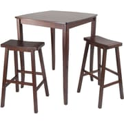 """Winsome 38.9"""" x 33.8"""" Wood Square inglewood High/Pub Dining Table With Saddle Stool, Antique Walnut"""