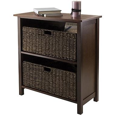 Winsome Granville Wood 3-Pc Storage Shelf With 2 Large Foldable Corn Husk Baskets, Antique Walnut