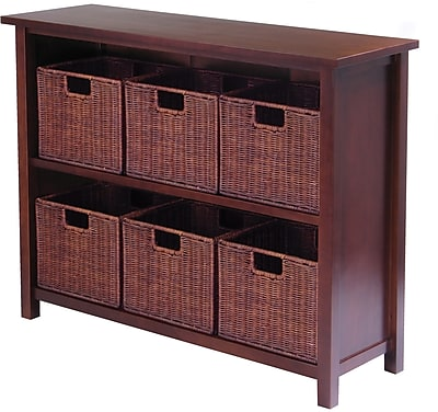 Winsome Milan Wood 7-Pc Storage Shelf With 6 Small Foldable Rattan Baskets, Antique Walnut