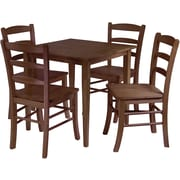 "Winsome Groveland 29.13"" x 29.53"" x 29.53"" Wood Square Dining Table With 4 Chair, Antique Walnut"