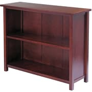 Winsome Milan Solid/Composite Wood 3-Tier Long Storage Shelf or Bookcase, Antique Walnut