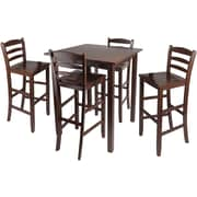 "Winsome Parkland 38.98"" x 33.86"" Wood Square High Table With 2 Ladder Back Stool, Antique Walnut"