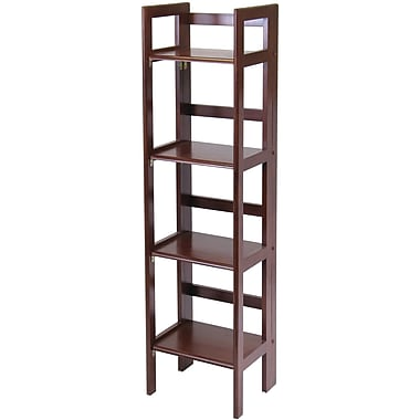 Winsome Solid/Composite Wood 4-Tier Narrow Folding Shelf, Antique Walnut