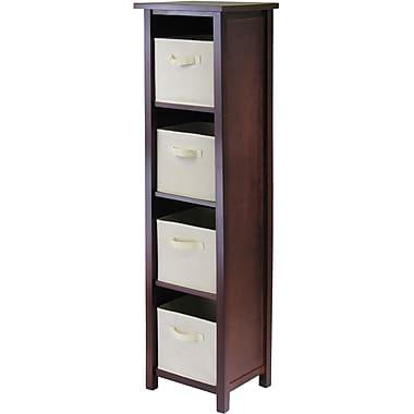 Winsome Verona Wood 4-Section N Storage Shelf With 4 Foldable Fabric Baskets, Walnut/Beige