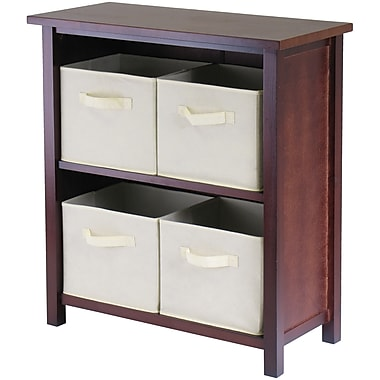 Winsome Verona Wood 2-Section M Storage Shelf With 4 Foldable Fabric Baskets, Walnut/Beige