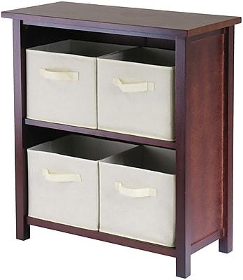Winsome Verona Wood 2-Section M Storage Shelf With 4 Foldable Fabric Baskets, Walnut/Beige