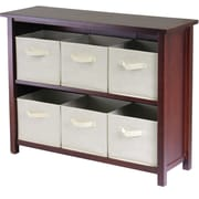 Winsome Verona Wood 4-Section W Storage Shelf With 6 Foldable Fabric Baskets, Walnut