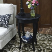 "Carolina Cottage 25"" x 18"" x 18"" Wood Radnor Side Table, Antique Black"