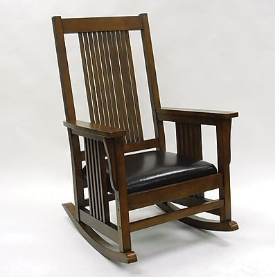 Carolina Cottage Mission Leather Rocking Chair, Brown