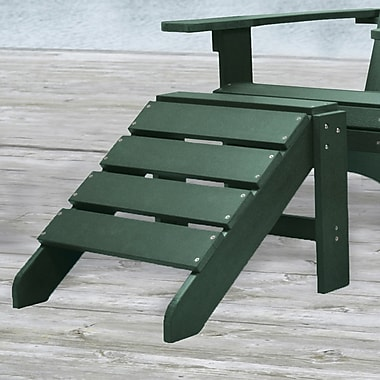 Carolina Cottage Cape Cod High-Density Plastic Adirondack Ottoman, Hunter Green