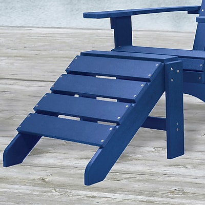 Carolina Cottage Cape Cod High-Density Plastic Adirondack Ottoman, Pacific Blue