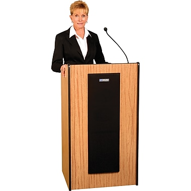 AmpliVox® Presidential Plus Lectern with Sound System, Medium Oak