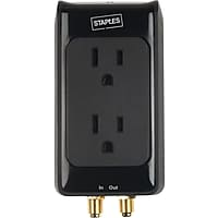 Deals on Staples 2-Outlet 1500 Joule Home Entertainment Surge Protector