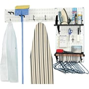 Wall Control Laundry Room & Pantry Organizer Storage Kit, White Tool Board and Black Accessories