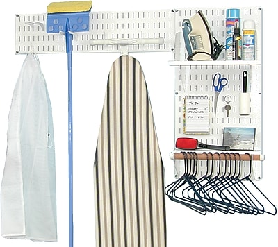 Wall Control Laundry Room & Pantry Organizer Storage Kit, White Tool Board and White Accessories