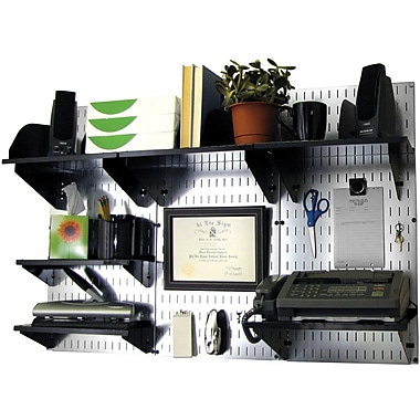 Wall Control Desk and Office Craft Center Organizer Kit, Galvanized Tool Board and Black Accessories