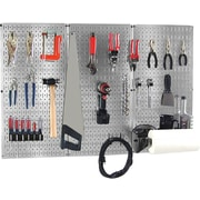 Wall Control 4' Metal Pegboard Basic Tool Organizer Kit, Galvanized Tool Board and Black Accessories