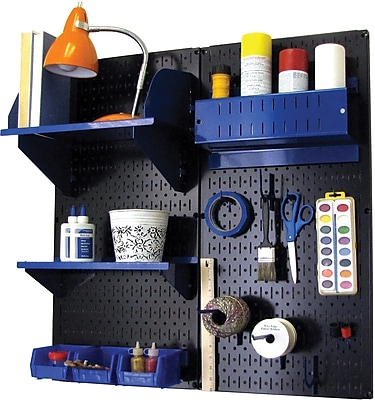 Wall Control Craft Center Pegboard Organizer Kit, Black Tool Board and Blue Accessories