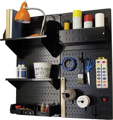 Wall Control Craft Center Pegboard Organizer Kit, Black Tool Board and Black Accessories