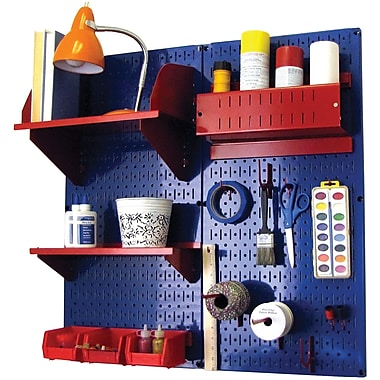 Wall Control Craft Center Pegboard Organizer Kit, Blue Tool Board and Red Accessories