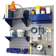 Wall Control Craft Center Pegboard Organizer Kit, Gray Tool Board and Blue Accessories