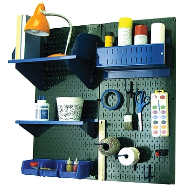 Wall Control Craft Center Pegboard Organizer Kit, Green Tool Board and Blue Accessories