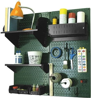 Wall Control Craft Center Pegboard Organizer Kit, Green Tool Board and Black Accessories