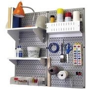 Wall Control Craft Center Pegboard Organizer Kit, Gray Tool Board and White Accessories